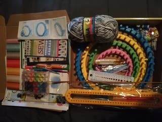 knitting crocheting sewing and paper quilling set