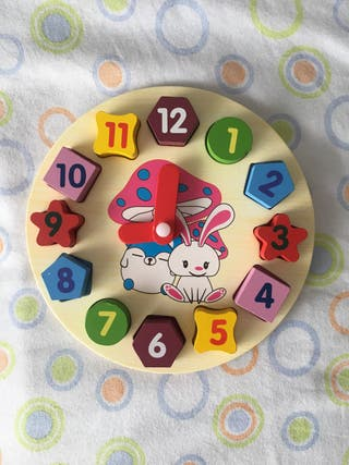 Reloj madera NUEVO para aprender números y hora