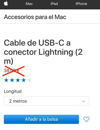 Cable de USB-C a conector Lightning 2 m. Precinto