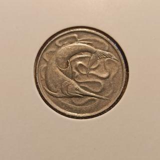 moneda 20 céntimos de Singapur de 1973