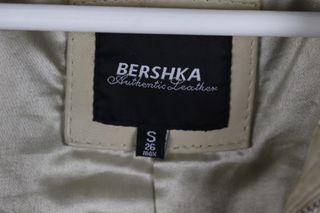 Chaqueta cuero beige Bershka talla S