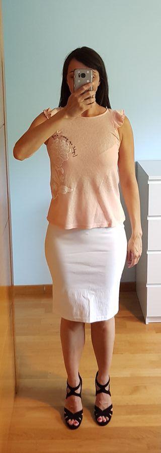 Falda midi blanca de Pimkie talla S