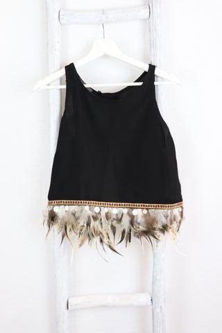 Top blusa negra con plumas KUK talla S / M