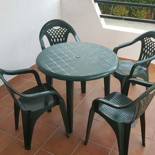 mesa plástico terraza