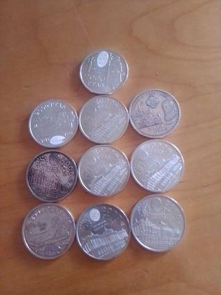 lote de 10 monedas 2000 pesetas. plata.