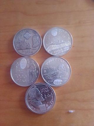 lote de 5 monedas de 2000 pesetas. plata.