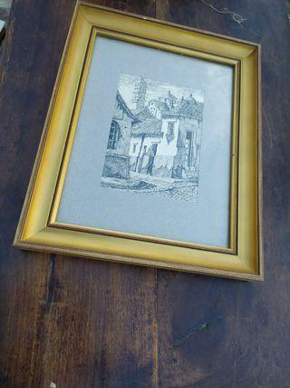 cuadro, dibujo casas