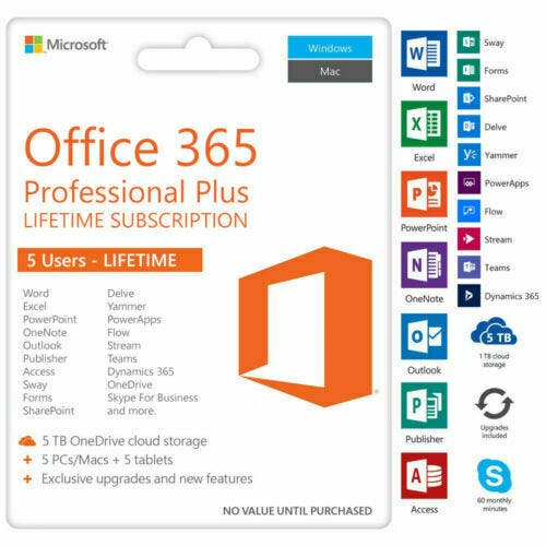 Office pro plus key license 5 Devices