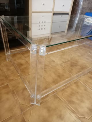 Mesa baja / salón, cristal + metacrilato