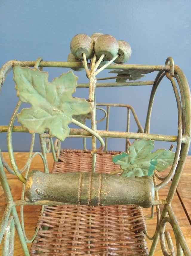 Botellero forja y madera vintage años 50/60