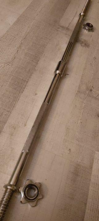 barra maciza 150cm pesas discos rosca cierres