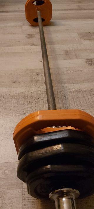 set bodypump pesas 32kg barra maciza+8 discos