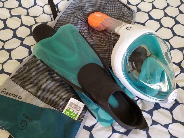 Kit Snorkel: Máscara easybreath y Aletas