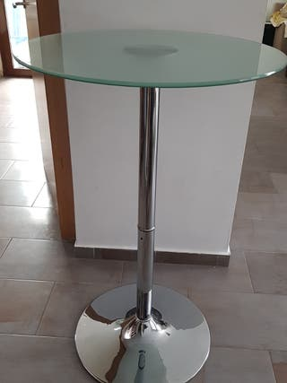 Mesa alta cristal templado redondo 70 cm y cromada