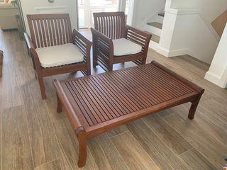 Conjunto sillones y mesa teca