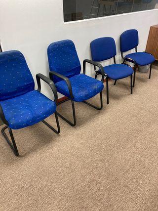4 sillas oficina despacho azul cómoda
