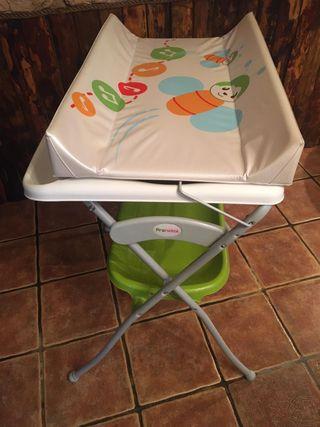 Bañera cambiador plegable prenatal.