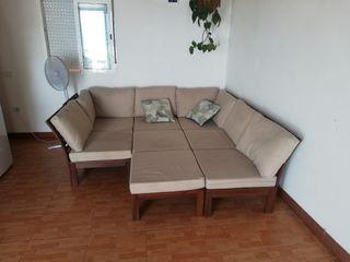 sofa modular tapizado con tela anti manchas