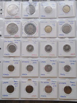 20 monedas españolas en hoja numismática
