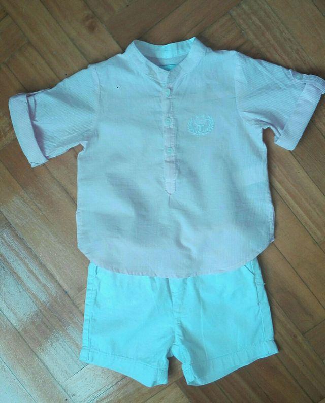 Conjunto bebé niño, camisa y pantalón, talla 12