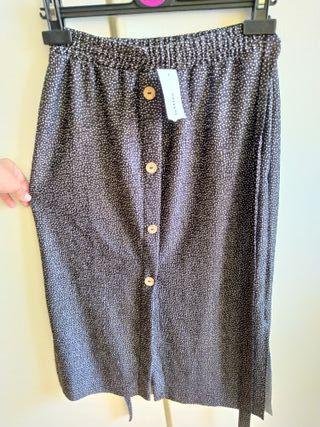 Falda midi gris oscura con lunares-lefties-Talla S