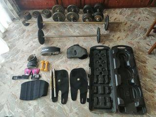 kit de pesas, barra, mancuerna, accesorios