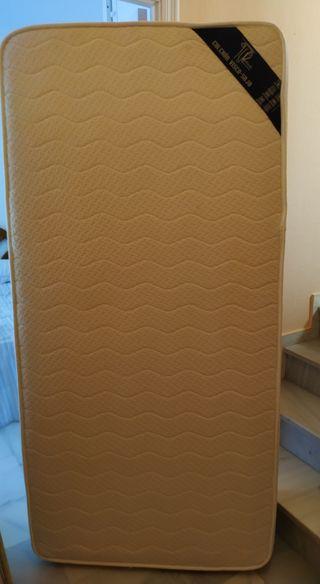 Colchón viscolástico + base tapizada de 90 cm