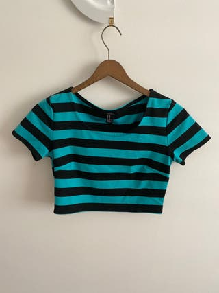 Camiseta rallas negro y turquesa