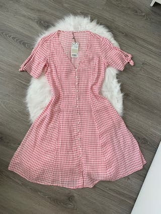 Vestido cuadros Vichy rosa