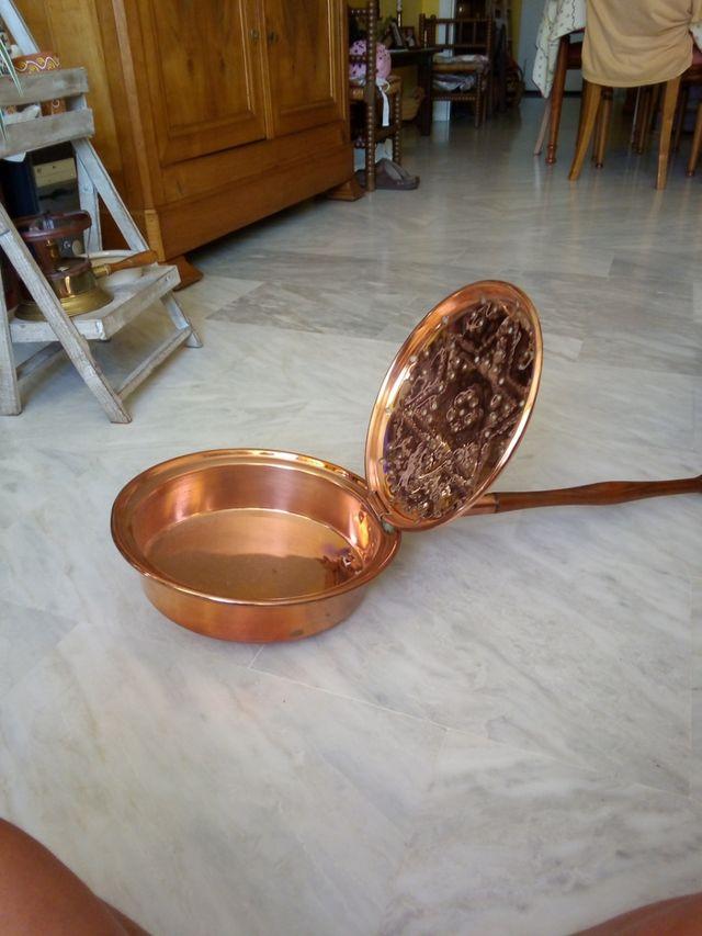 Calienta cama antiguo de cobre