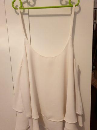 Top Camiseta tirantes blanca Mango