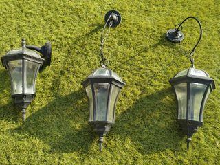 Juego de 3 lámparas rústicas de exterior
