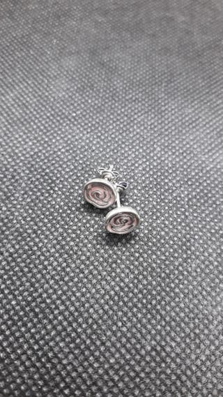 925 S.S Stud Earrings Pink Rose Summer Flower