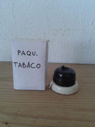 ANTIGUO INTERRUPTOR BAQUELITA NEGRO Y TACO MADERA