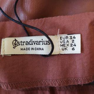 Falda-pareo beige oscuro de Stradivarius