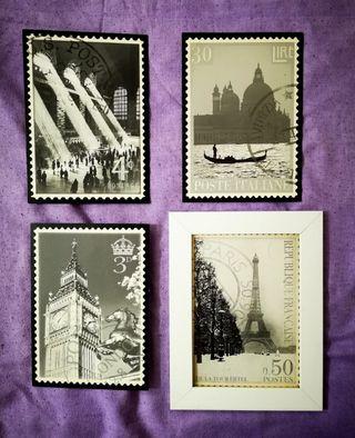 4 Postales Londres, París, Venecia y Nueva York