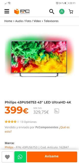 "Tv 43"" philips 4k hdr ambilighrlt x3"