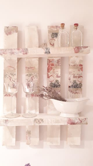 "Estanteria- Alacena decoupage ""wine"""