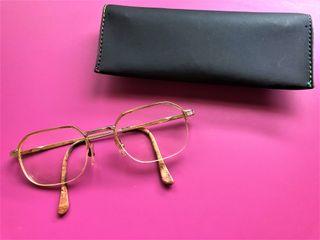 Montura Gafas Hexagonal Dorado + Funda