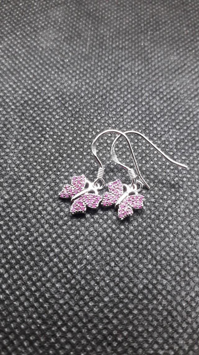 Butterfly 0.3ct Created Ruby Drop Earrings