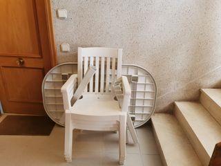 Mesa terraza blanca y 4 cadires