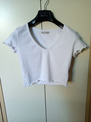 Top Pull & Bear blanco cropped