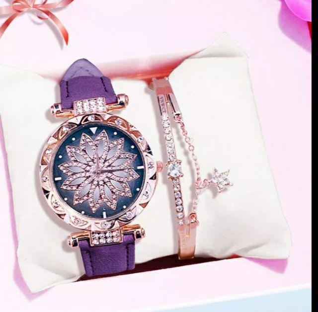 conjunto reloj y brazalete con estuche