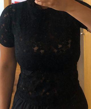 Blusa encaje negro talla m