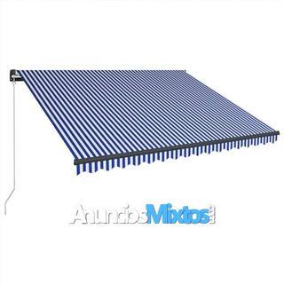 Toldo manual retráctil con LED azul y blanco 400x3