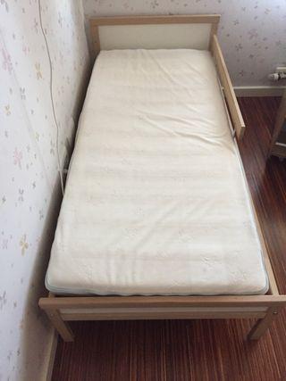 Cama infantil 70 x 160 con somier y colchón latex