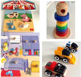Juguetes y puzzles de madera.