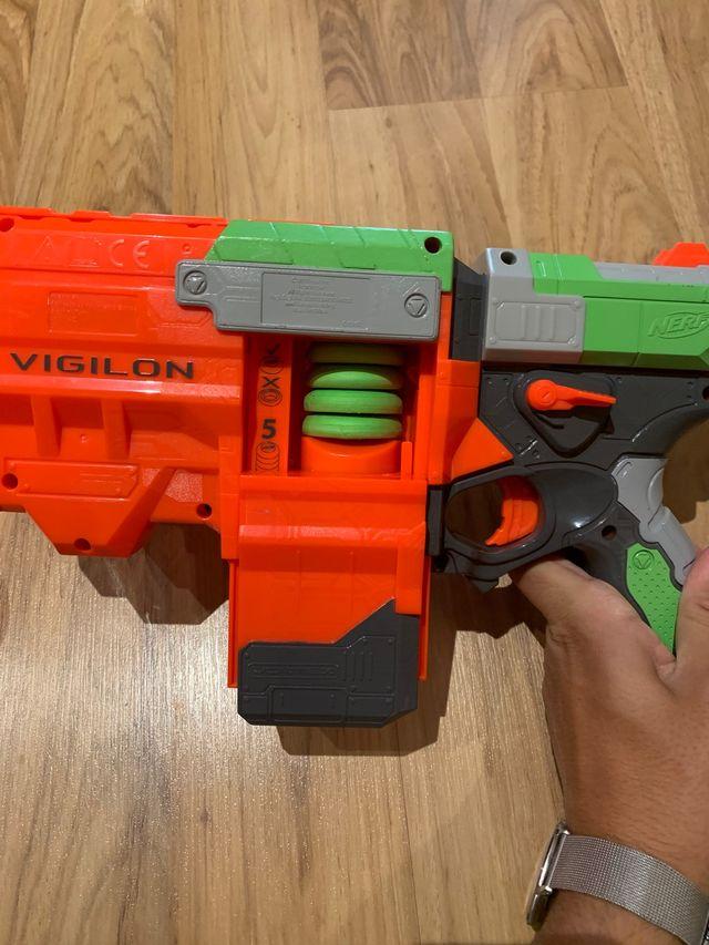 Pistola nerf de discos