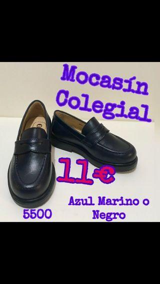 Mocasín Colegial Azul o Negro