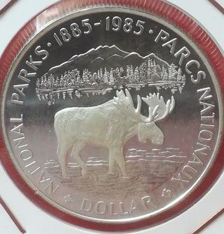 moneda dólar canadiense 1985 plata